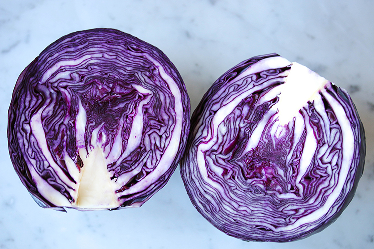 Red Cabbage salad with Tahini Lemon Dressing