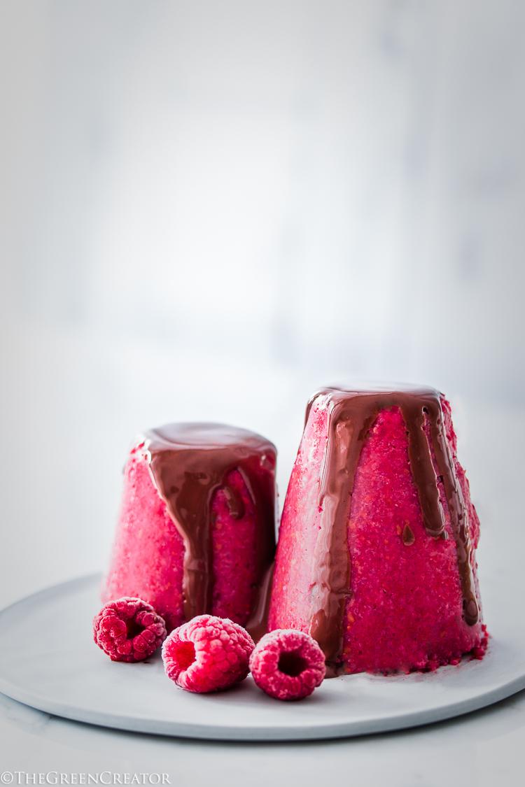 Frambozen Pudding met Chocolade Saus