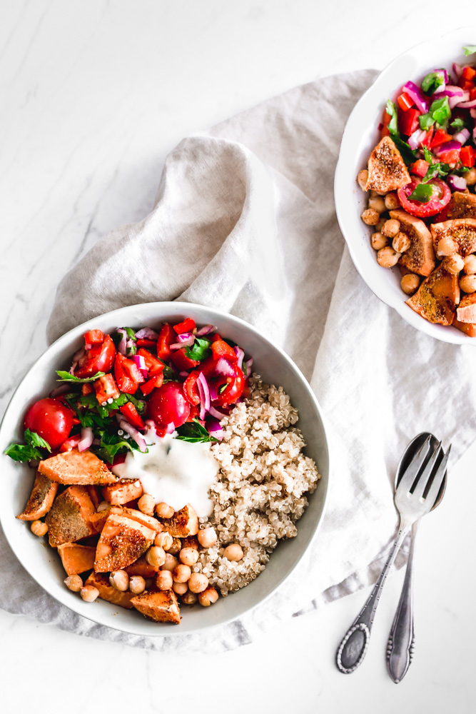 Sweet Potato and Chickpeas Tomato Salad with Sweet Mustard Dressing