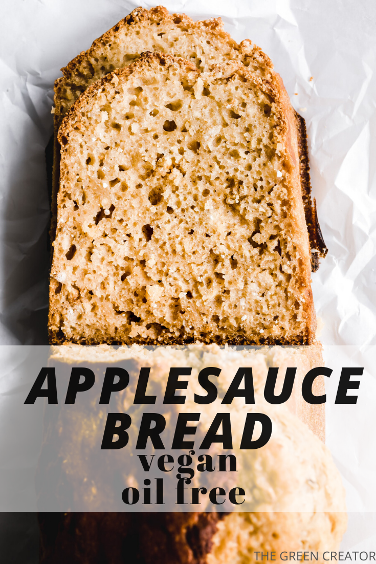 This Vegan Applesauce Bread is easy to make, without any yeast or kneading. It's made with a whole grain flour and naturally sweetened. This makes a delicious bread to serve for breakfast or as a snack. #applesaucebread #bread #applesauce #breakfast #snack #plantbased #vegan | thegreencreator.com