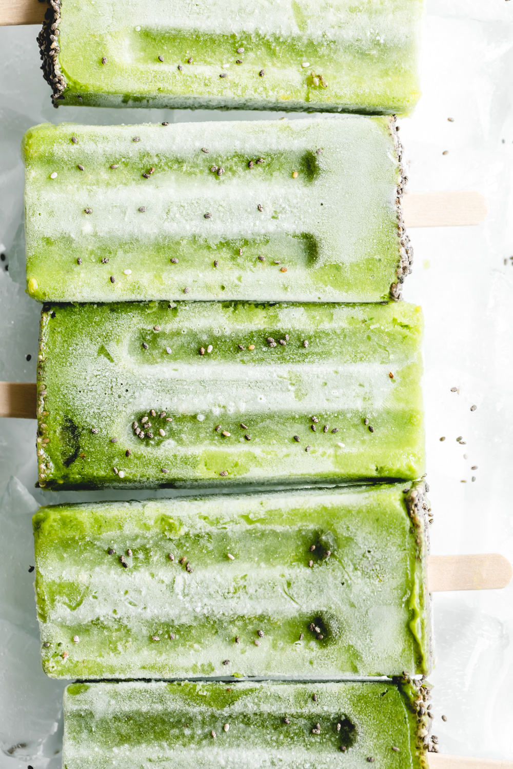 close up green popsicles